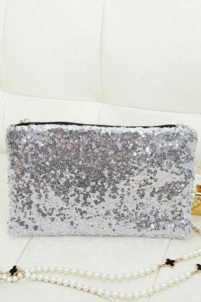 Silver Sequin Aristocratic Clutch Bag - Everything 5 Pounds