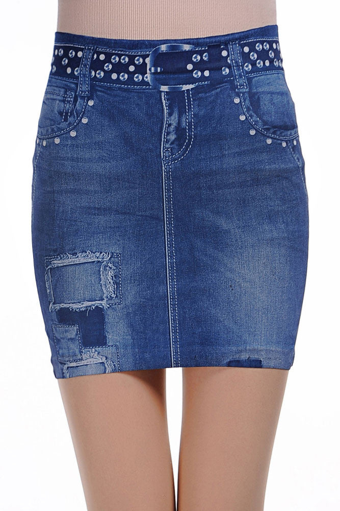 Fashionable Blue Ripped Denim Look Mini Skirt - Everything 5 Pounds - 1