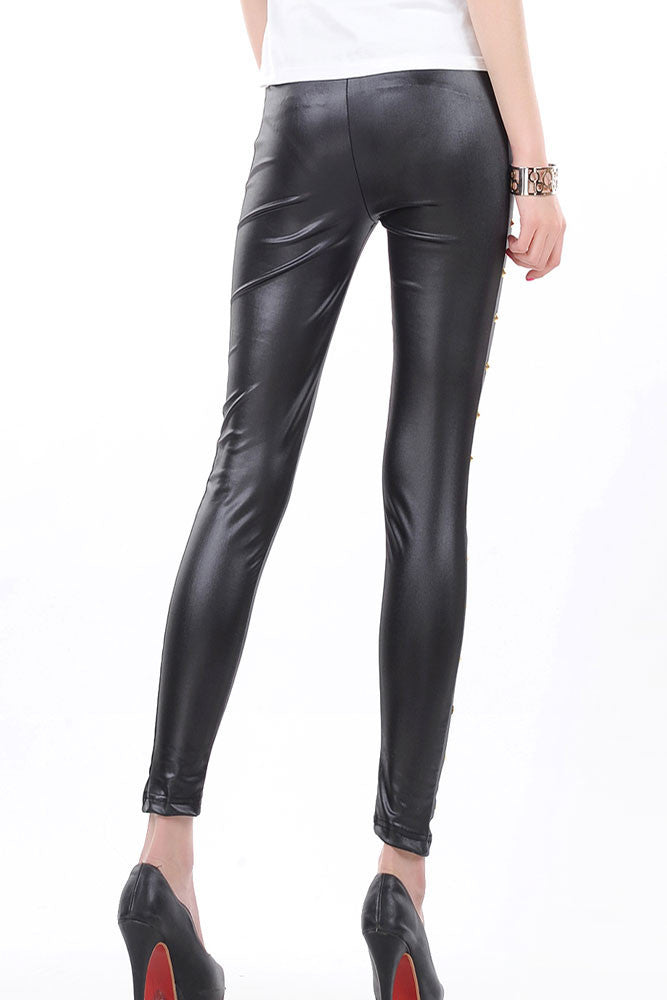 Gisele Black Faux Leather Legging - Everything 5 Pounds - 2