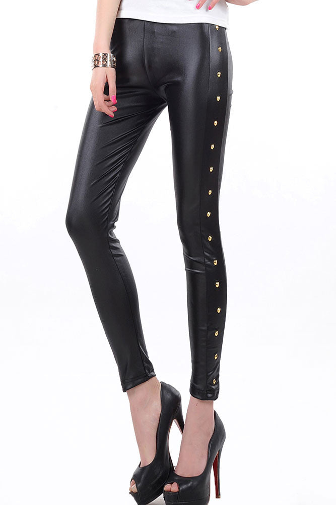 Gisele Black Faux Leather Legging - Everything 5 Pounds - 1