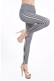Black And White Stripes Legging - Everything 5 Pounds