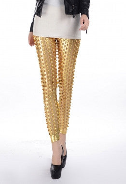 Gold Punk Fish Scale Pierced Holes Fashion Leggings - Everything 5 Pounds - 1