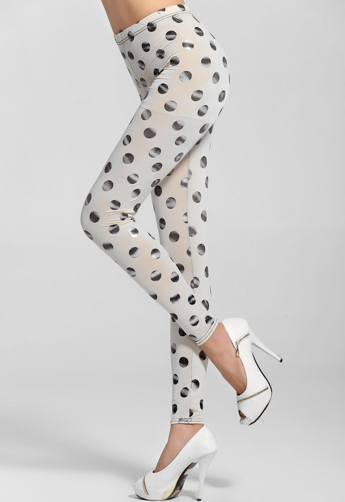 Silver Dots Sexy White Leggings - Everything 5 Pounds - 2