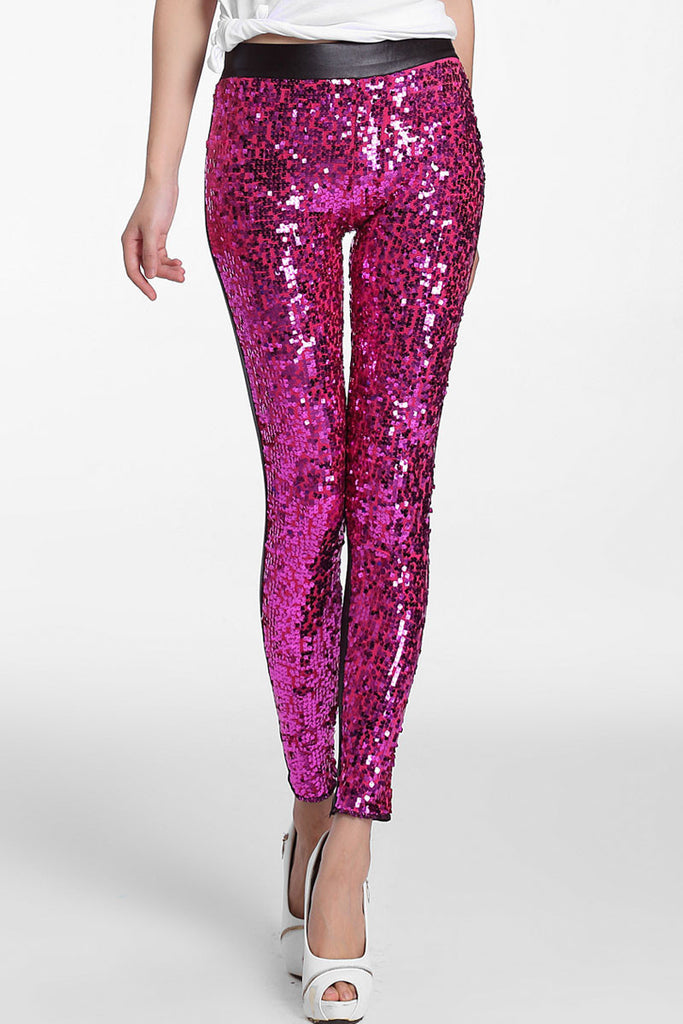 Rosy Sequin Front PU Leggings - Everything 5 Pounds - 1