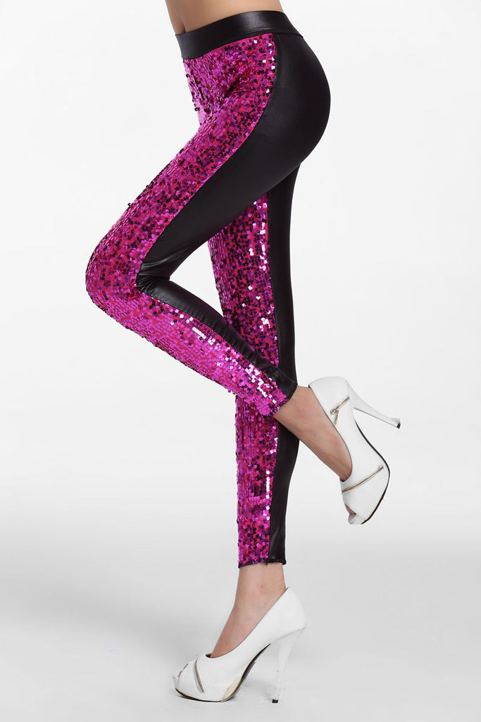 Rosy Sequin Front PU Leggings - Everything 5 Pounds - 2