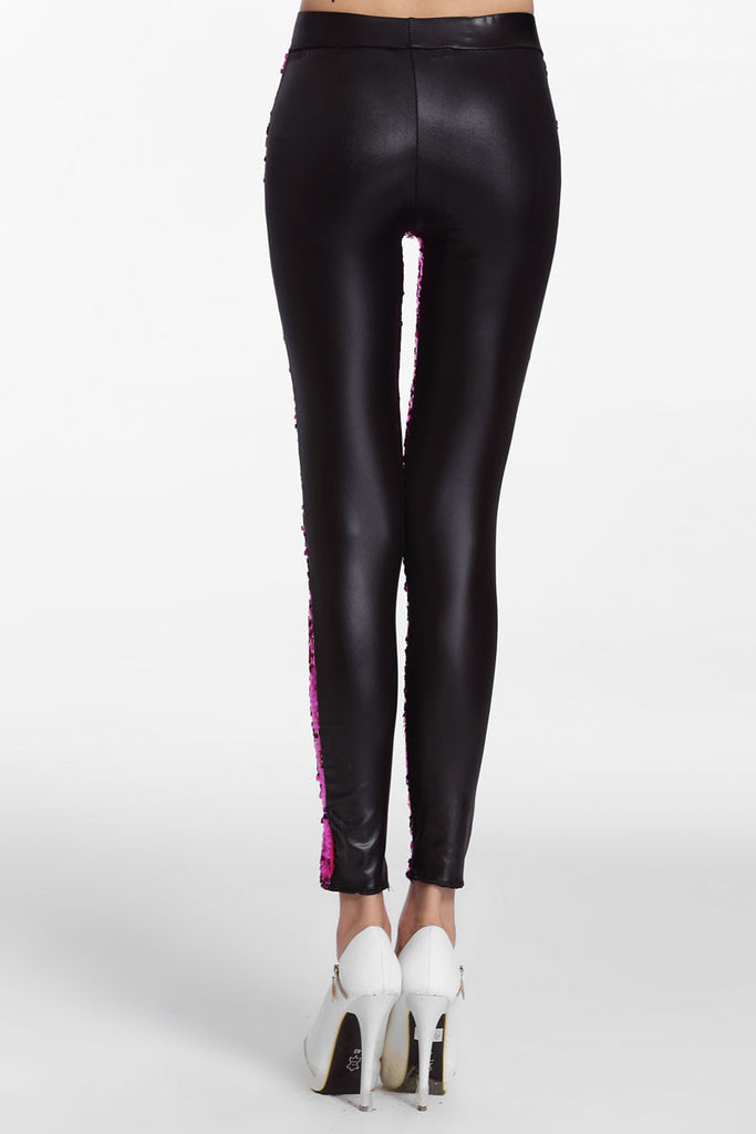 Rosy Sequin Front PU Leggings - Everything 5 Pounds - 3