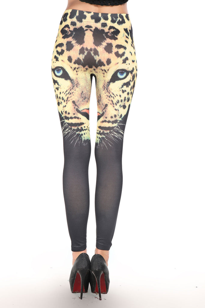 Leopard Head Print Black Leggings - Everything 5 Pounds - 3