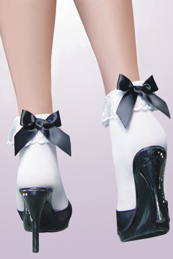 Ankle Socks with Ruffle Black Bow - Everything 5 Pounds