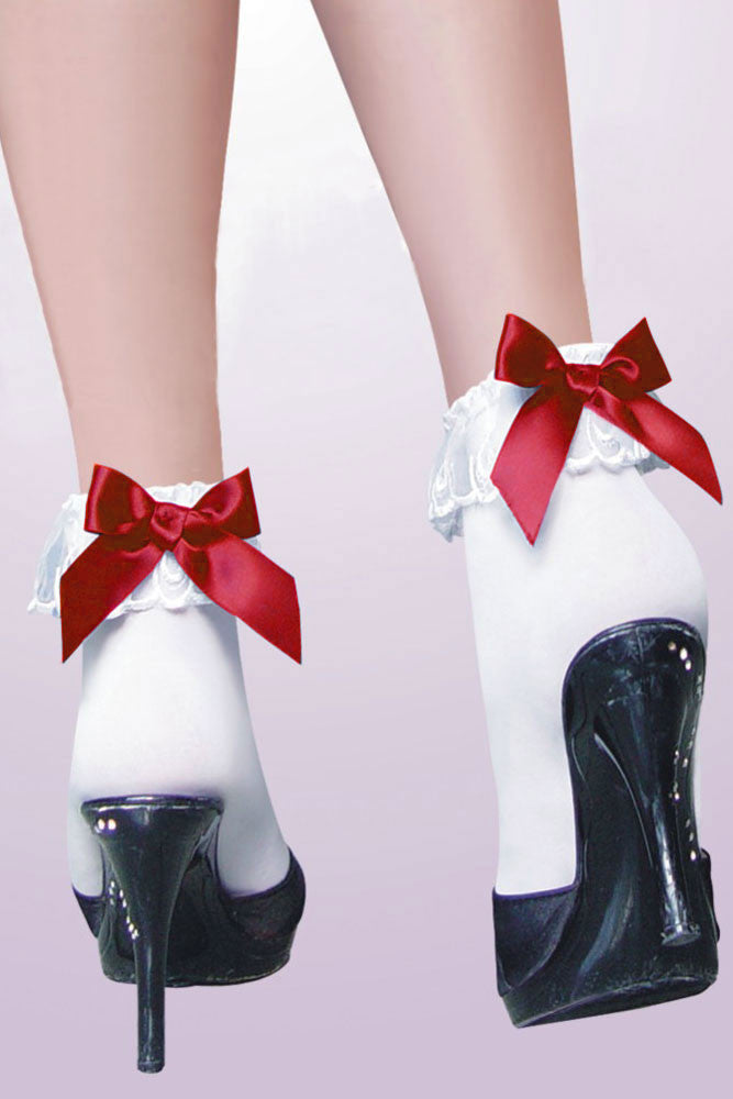 Ankle Socks with Ruffle Red Bow - Everything 5 Pounds