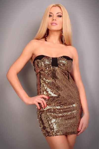 Party Dress DR-2312-GOLD - Everything 5 Pounds