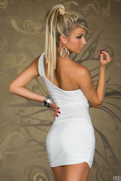 One-shoulder White Mini Dress With Lace Inserts - Everything 5 Pounds - 3