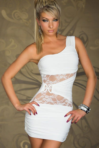 One-shoulder White Mini Dress With Lace Inserts - Everything 5 Pounds - 1