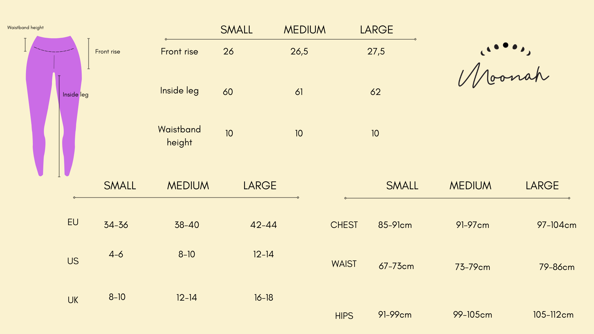 size chart for yoga clothes