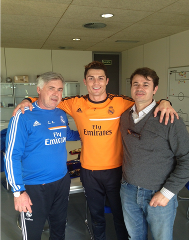 Enrico Campari with Carlo Ancelotti and Cristiano Ronaldo