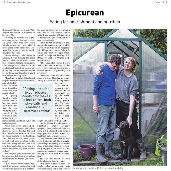 Our Epicurean Column in The Waiheke Weekender