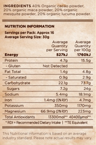 Lifefoods Superfood Smoothie nutritional analysis