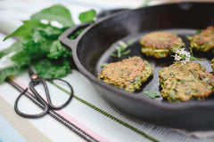 Cast Iron Pan with Chia & Silverbeet Fritters