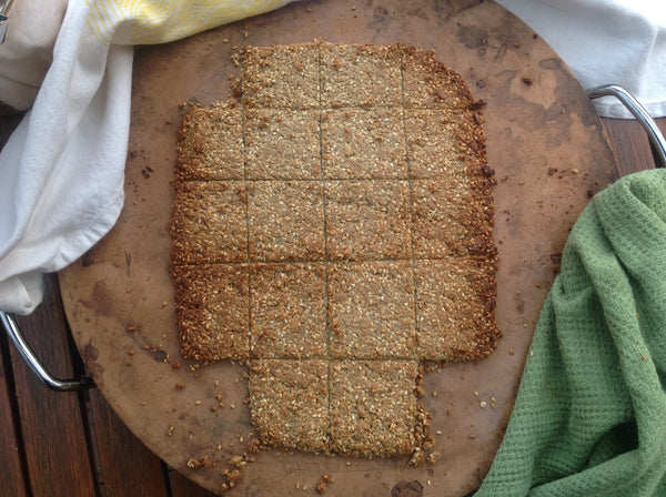 Sunflower Seed Crackers made without baking paper on a pizza stone