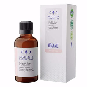Absolute Essential Baby Oil: Rose & Chamomile offers the ultimate in gentle, nurturing baby care.