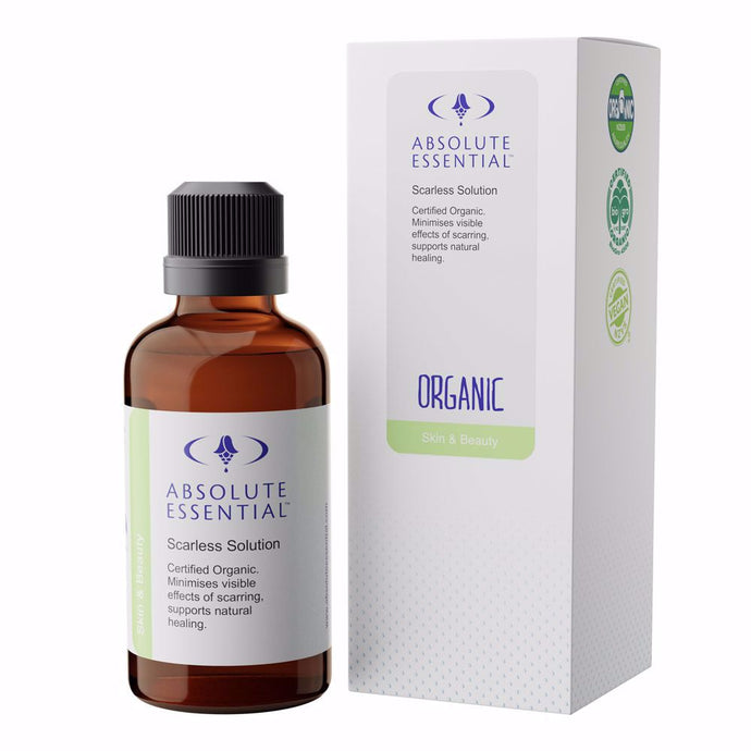 Absolute Essential Organic Scarless Solution provides intense nutrition at cell level to assist natural healing, and nourish and repair tissues for optimum elasticity and tone.