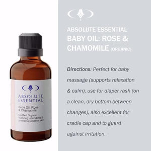 Absolute Essential Baby & Child: Baby Oil: Rose & Chamomile: Directions for use.