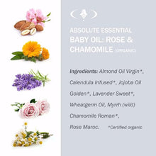 Absolute Essential Baby Oil: Rose & Chamomile (Organic): Ingredients.