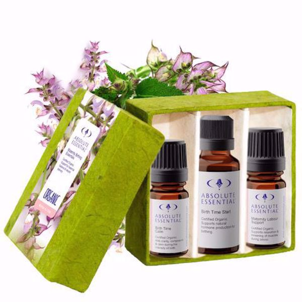 Absolute Essential Birthing Essentials - Set of Essential Oil Blends (Organic): three pristine, clinical blends to support hormone production, calm & promote natural delivery.