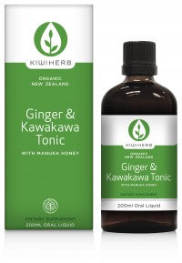 Ginger and Kawakawa Tonic supports digestion and circulation, and is ideal to rapidly target digestive system bloating and /or upsets.  200ml