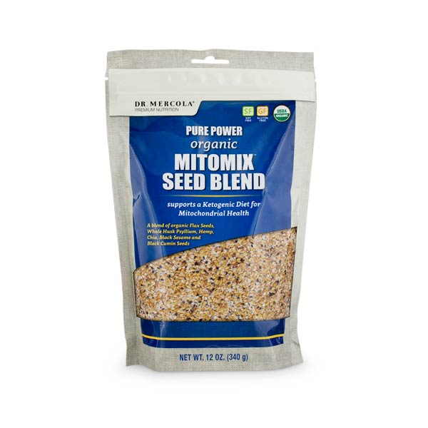 Dr Mercola's Organic Mitomix Seed Blend contains a very specific balance of organic seeds and psyllium to provide plant omega-3 fats, lignans, and fiber.