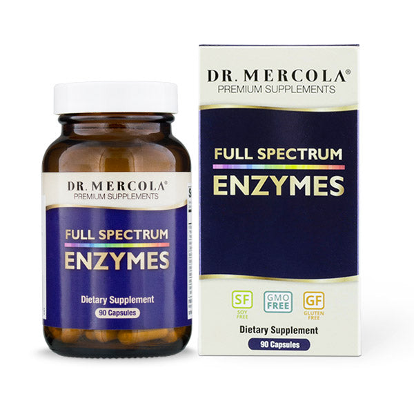 Dr Mercola's Full Spectrum Enzymes is a one-of-a-kind flagship digestive enzyme blend. It is scientifically formulated to contain a broad range of enzymes to help digest different types of food quickly