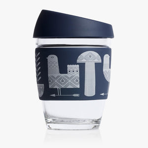 Joco reusable coffee cup 12oz in Adrian Knott Artist Series made from silicone and toughened glass