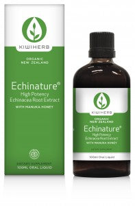 Kiwiherb Echinature®: contains premium, organic, New Zealand grown Echinacea root with Manuka Honey, providing an immune formula for year round use. 100ml