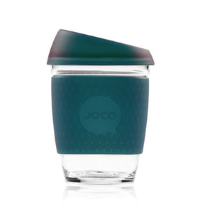 Joco reusable coffee cup 12oz in Deep Teal in Seaglass made from silicone and toughened glass