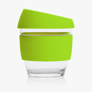 Joco reusable coffee cup 8oz in Lime made from silicone and toughened glass