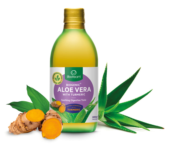 Lifestream Biogenic® Aloe Vera with Turmeric combines Aloe Vera sourced from 100% pure 'inner leaf' gel with HydroCurc®, a water dispersible form of turmeric, to provide an extra strength digestive tonic.