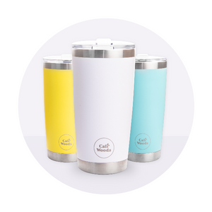 Caliwoods Hot & Cold Tumblers - Insulated Stainless Steel Reusable Cups
