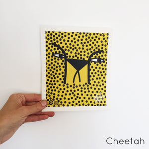 SPRUCE. A super star eco friendly dishcloth doing good things for the planet. In Cheetah Design.