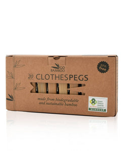 Go Bamboo Clothes Pegs - 20 Pegs in a Box