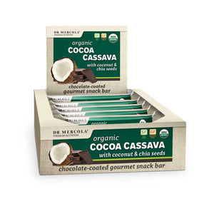 Cocoa Cassava bars are filled with moist, chewy organic Coconut sprinkled with the superfood Chia and covered with deep, smooth organic dark chocolate. Box of 12.