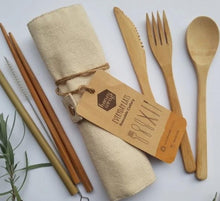 Reusable Cutlery Set in Fabric Go-Pack by Honeywrap in Cream