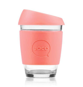 Joco reusable coffee cup 12oz in Persimmon made from silicone and toughened glass
