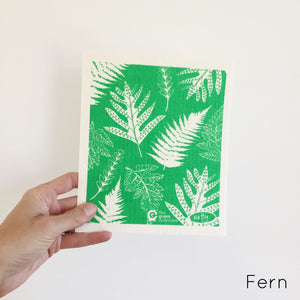 SPRUCE. A super star eco friendly dishcloth doing good things for the planet. In Fern Design.
