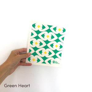 SPRUCE. A super star eco friendly dishcloth doing good things for the planet. In Green Heart Design.