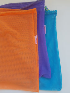 Goodie Bag Set of 3 - orange, purple, mid blue.