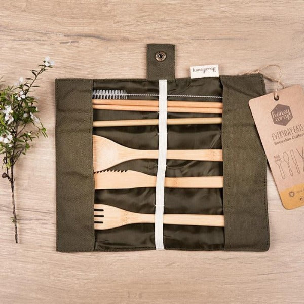 Reusable Cutlery Set in Fabric Go-Pack by Honeywrap in Green