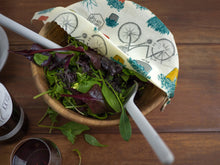 Honeywrap - Reusable Food Wrap. City Garden Design Covering a Salad Bowl.