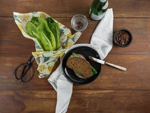 Honeywrap - Reusable Food Wrap. Forest Design Wrapping Lettuce.