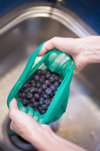 A kitchen, household & shopping reusable essential new in from the Green Collective: Goodie Bag with Blueberries being washed