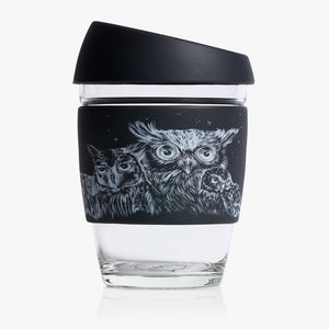 Joco reusable coffee cup 12oz in Artist Series - Jen Lobo made from silicone and toughened glass