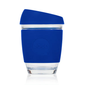 Joco reusable coffee cup 12oz in Cobalt made from silicone and toughened glass